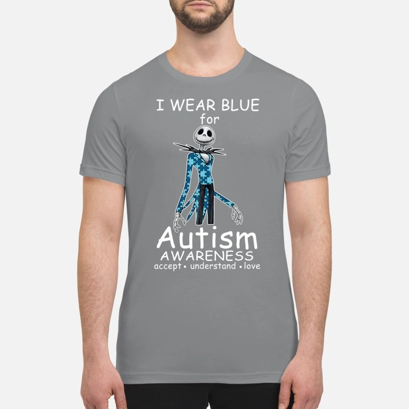 Jack skellington I wear blue for autism awareness premium shirt