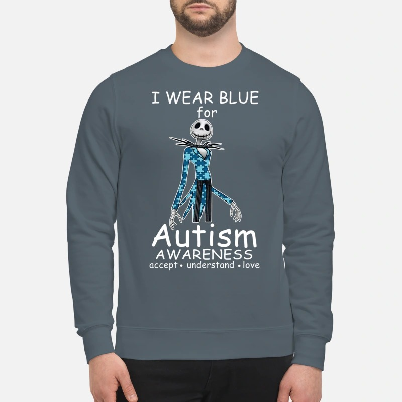 Jack skellington I wear blue for autism awareness sweatshirt