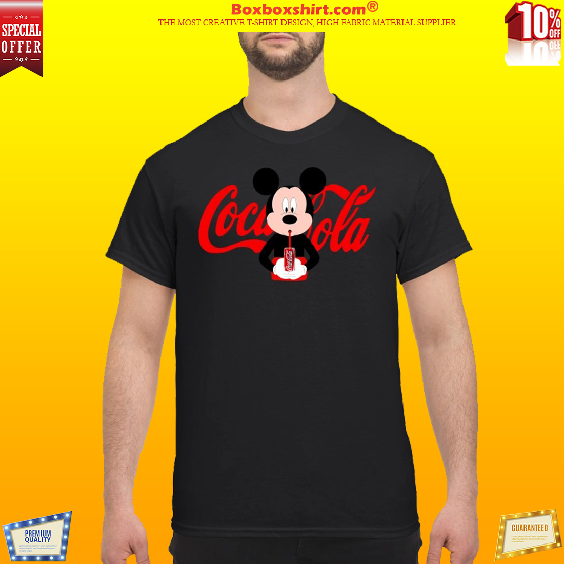 8dfcea691767c3  AUTHETIC  Mickey Mouse drinks coca cola shirt