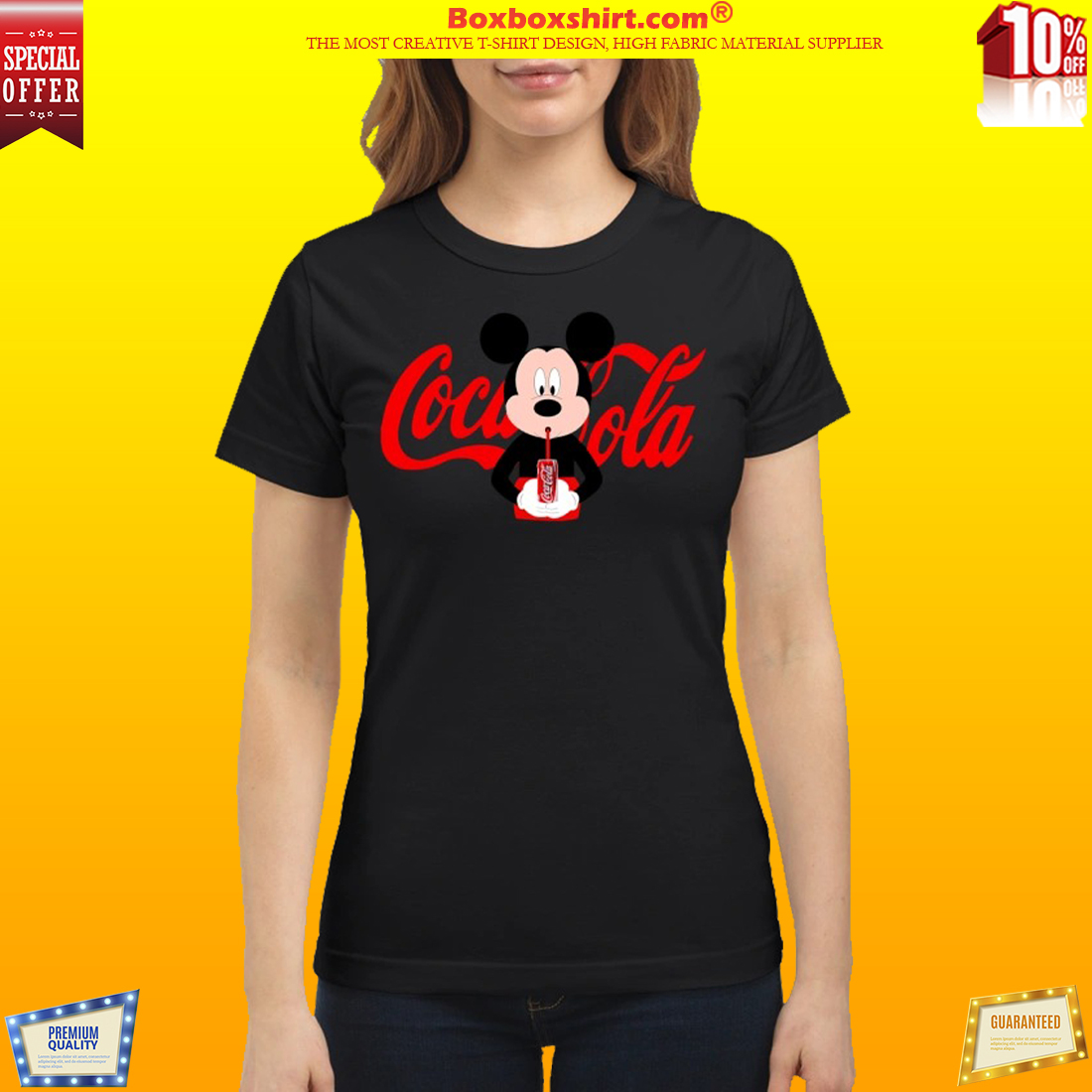 db25350f391974 NEWEST  Mickey Mouse drinks coca cola shirt
