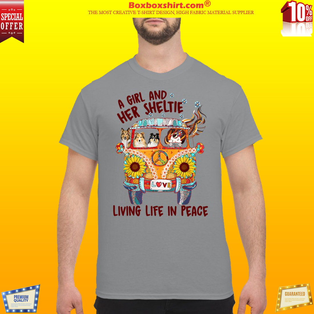 A girl and her sheltie living life in peace classic shirt