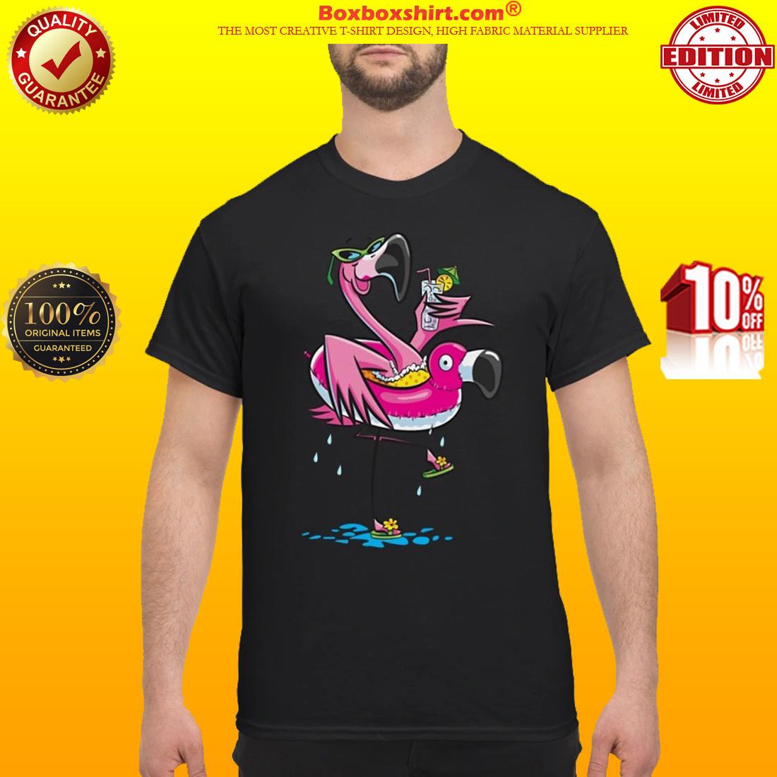 Flamingo swimming float classic shirt