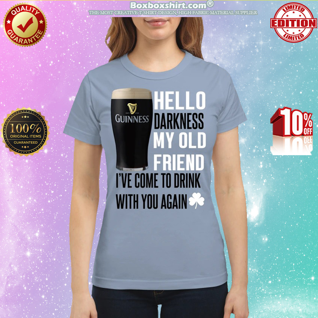 Guinness beer Hello darkness my old friend I've come to drink with you again classic shirt