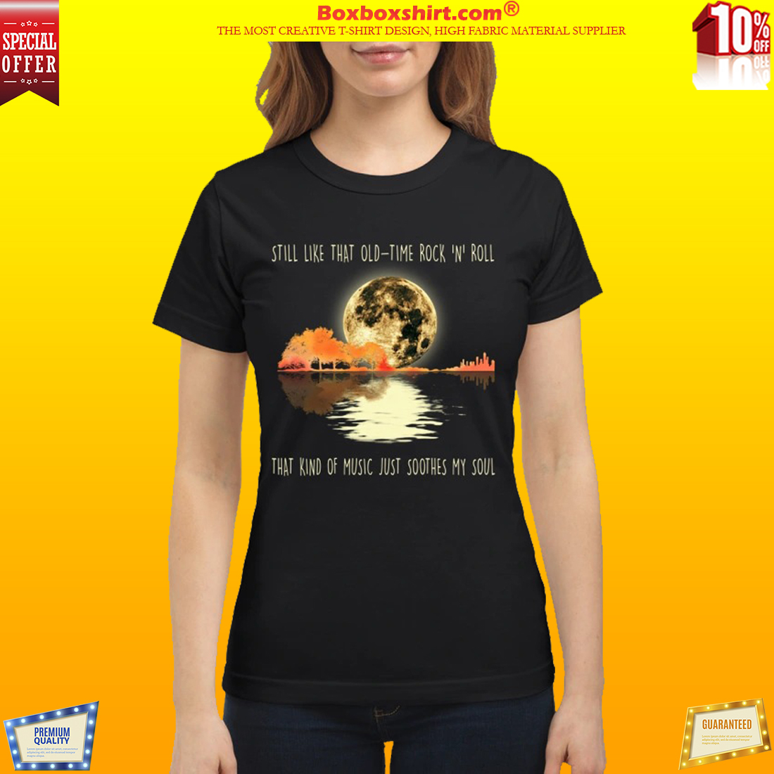 14a536ef NEWEST] Guitar and moon still like that old time rock and roll shirt