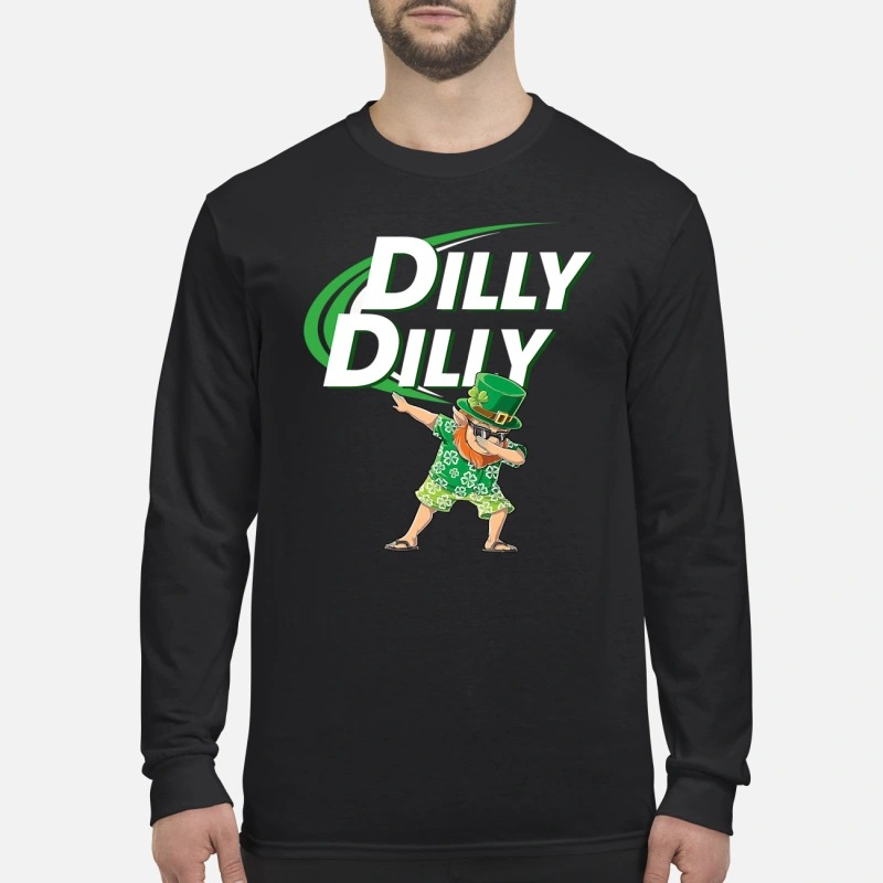 Leprechaun dabbing dilly dilly long sleeved shirt