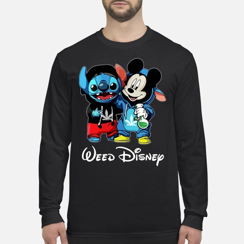 Mickey mouse and Stitch weed disney men's long sleeved shirt