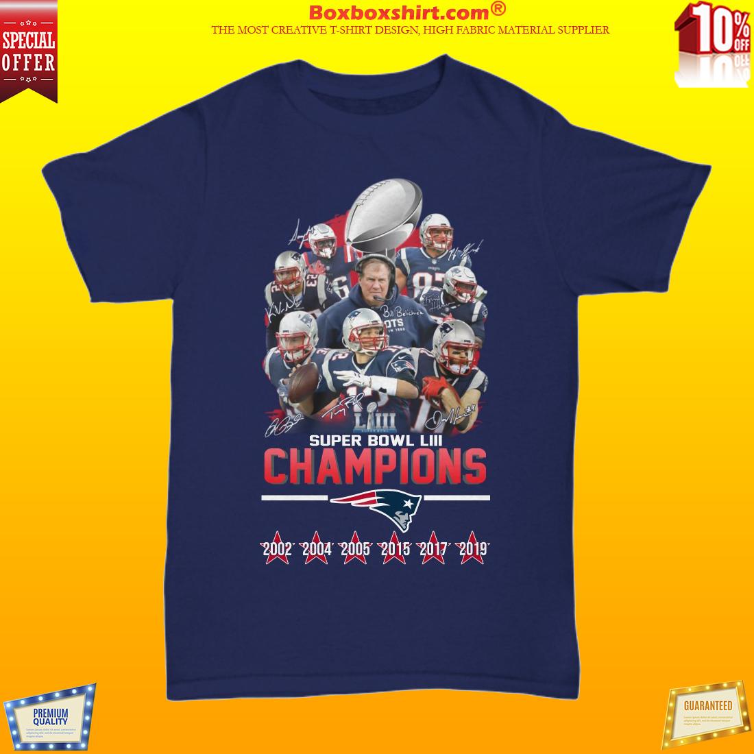 Patriots Super Bowl LIII champions unisex shirt