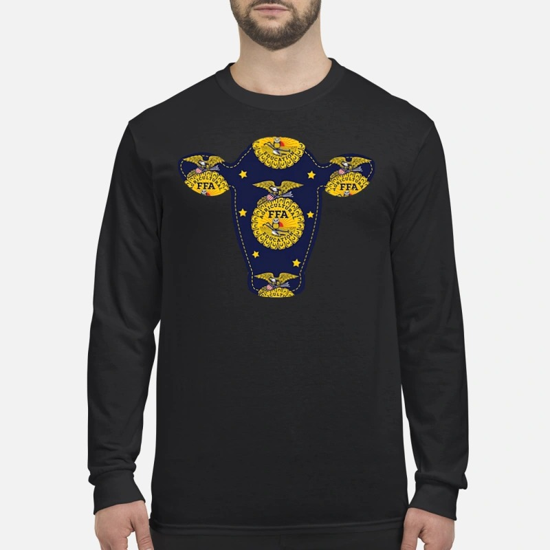 Agricultural FFA cow head men's long sleeved shirt