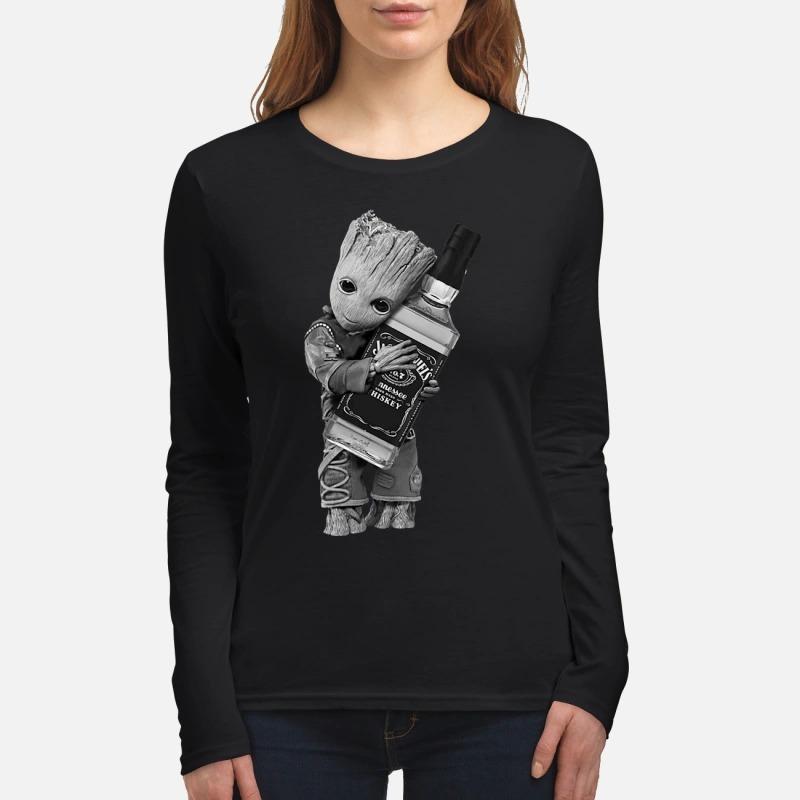 Baby groot hug Jack Daniels women's long sleeved shirt