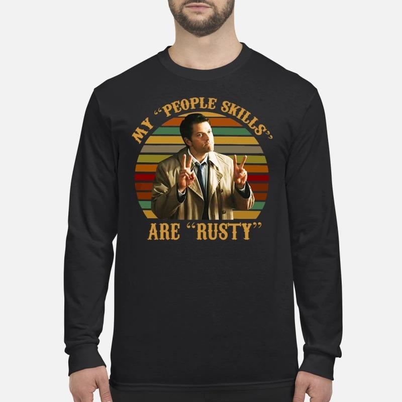 Castiel supernatural my people skills are rusty men's long sleeved shirt