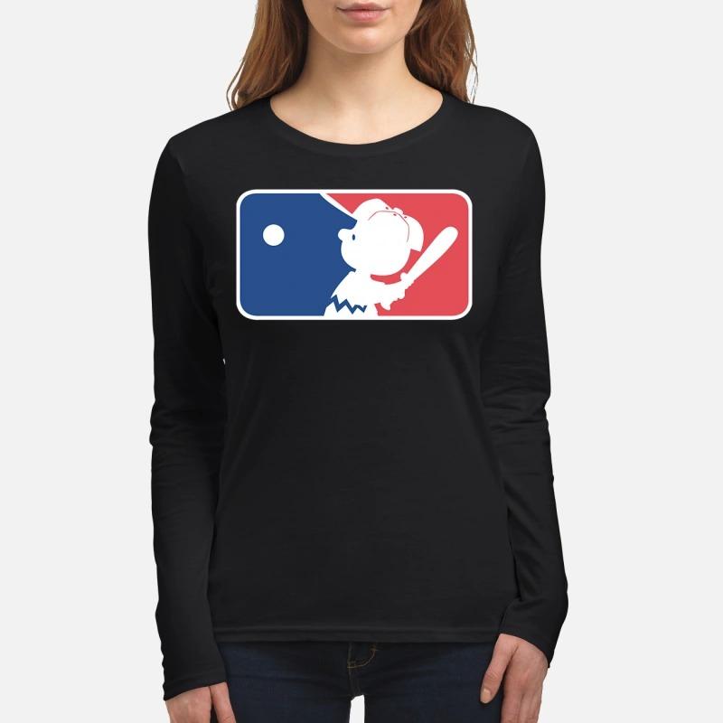 Charlie Brown play baseball women's long sleeved shirt