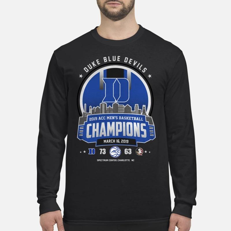 Duke blue devils 2019 acc basketball champión men's long sleeved shirt