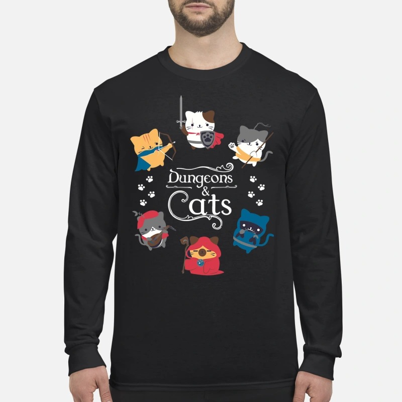 Dungeons and cats men's long sleeved shirt