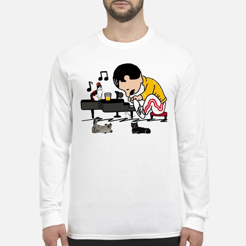 Freddie Mercury playing piano and cats men's long sleeved shirt
