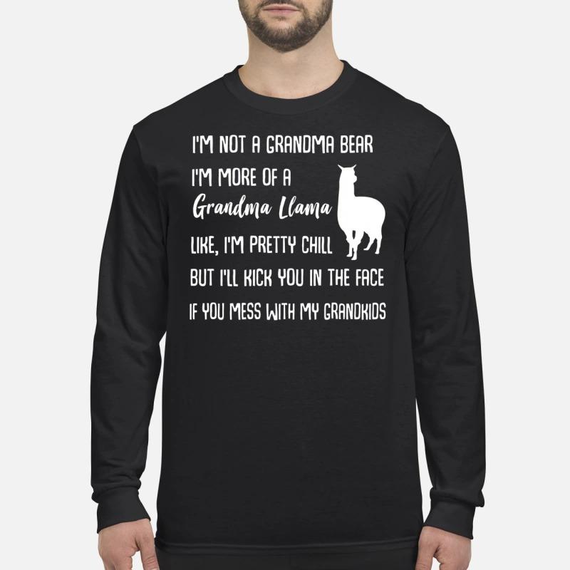 I'm not a grandma bear I'm more of a grandma llama men's long sleeved t shirt
