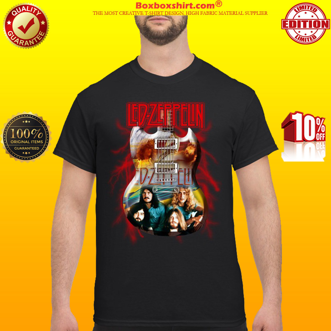 Led Zeppelin and guitar shirt