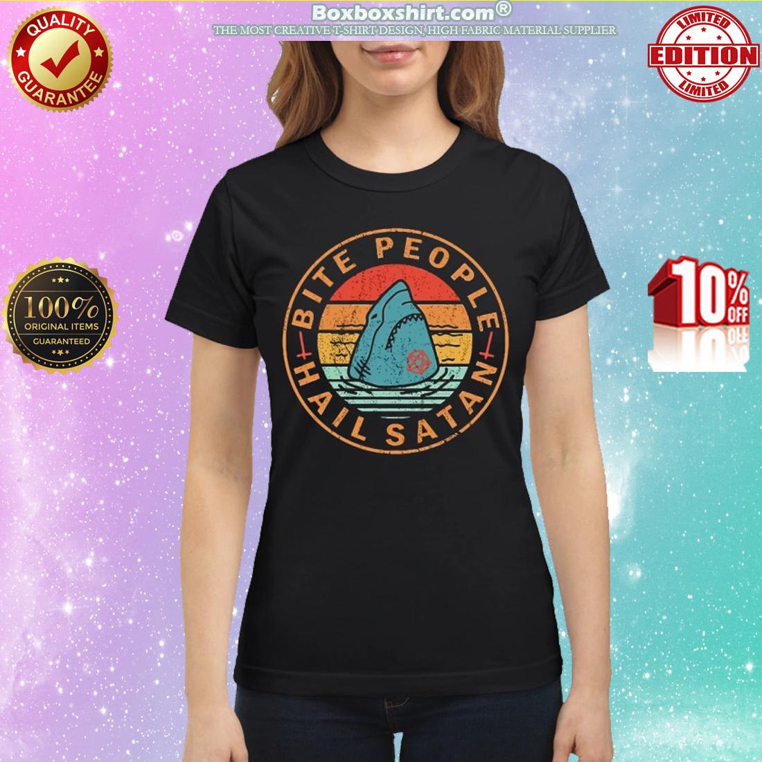 Shark bite people hail satan classic shirt