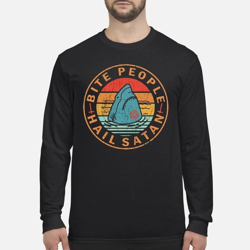 Shark bite people hail satan men's long sleeved shirt