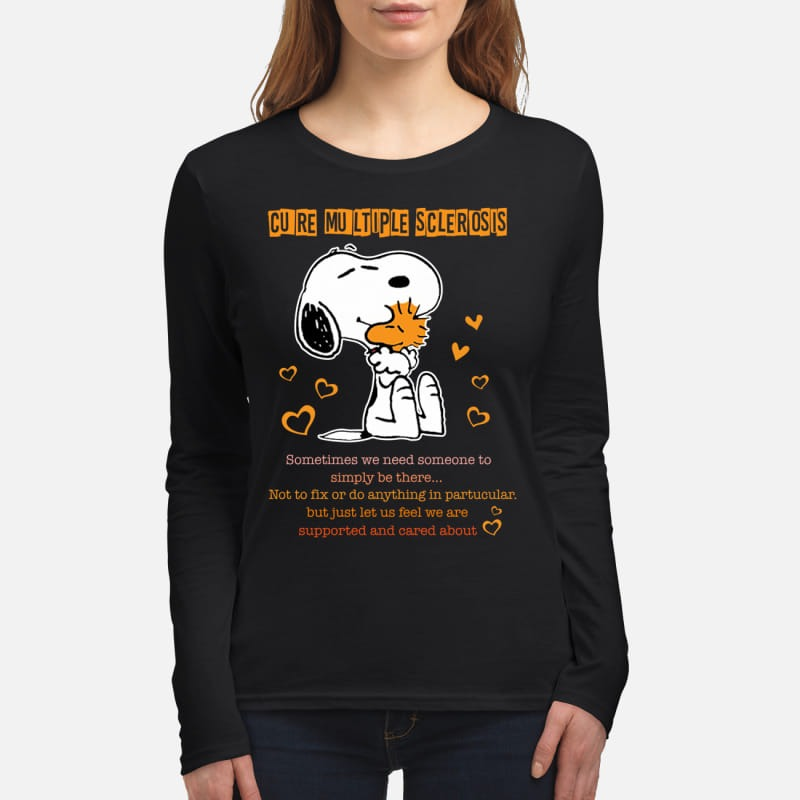 Snoopy and woodstock cure multiple sclerosis women's long sleeved shirt