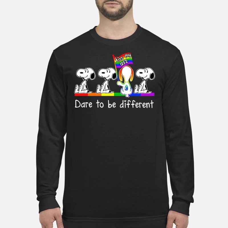 Snoopy dare to be different kiss my ass men's long sleeved shirt