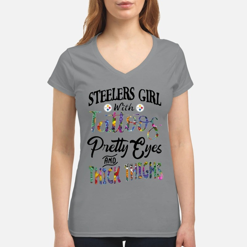 Steelers girl with tattoos pretty eyes and thick thighs v-neck shirt