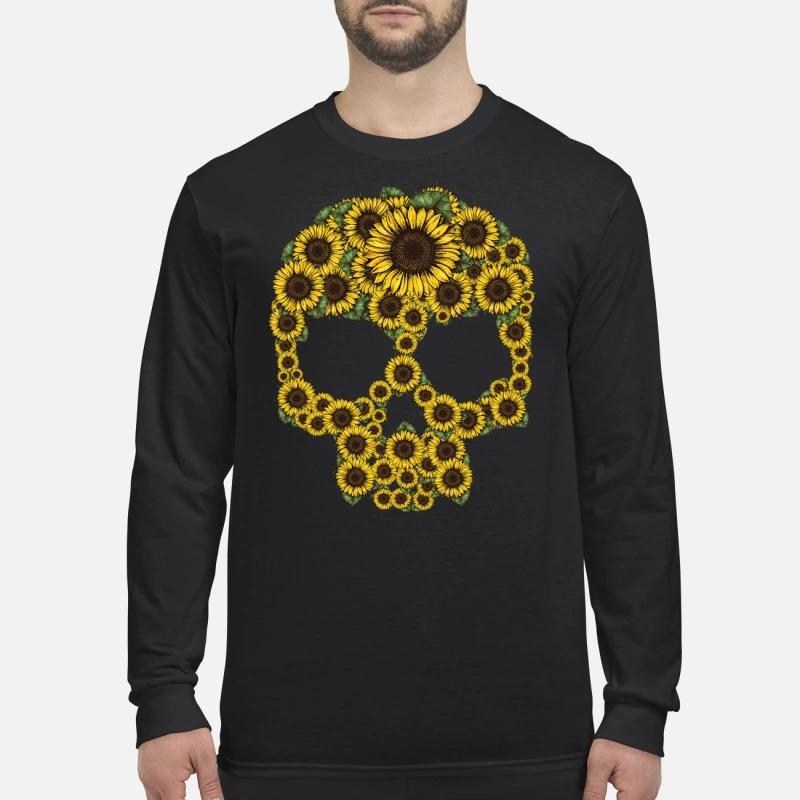 Sunflower skull men's long sleeved shirt