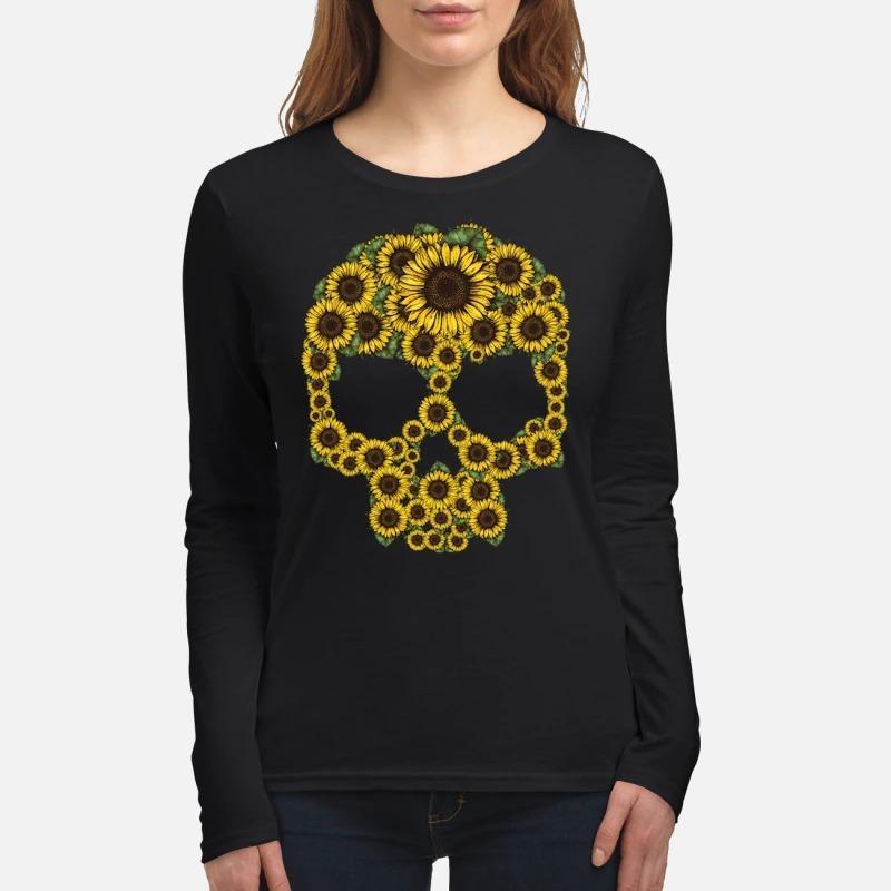 Sunflower skull women's long sleeved shirt