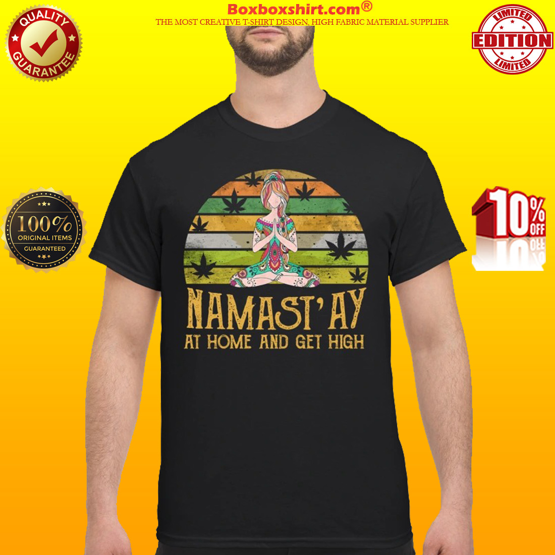 Yoga girl namastay at home and get high classic shirt