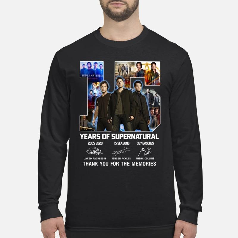 15 years of supernatural Jared Padalecki Jensen Ackles Misha Collins men's long sleeved shirt