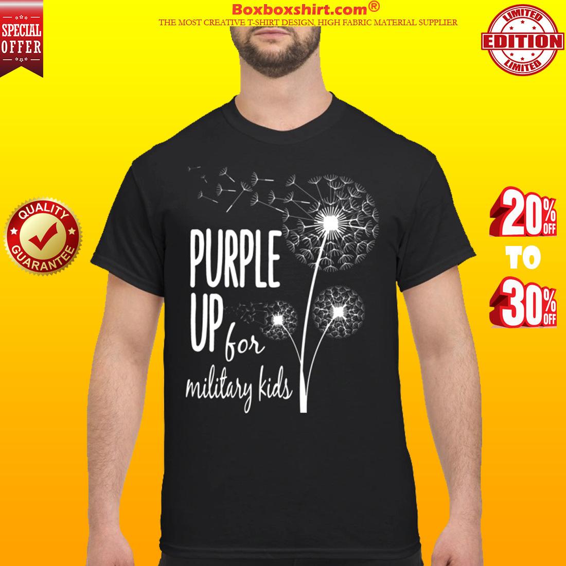 Dandelion purple up for military kids classic shirt