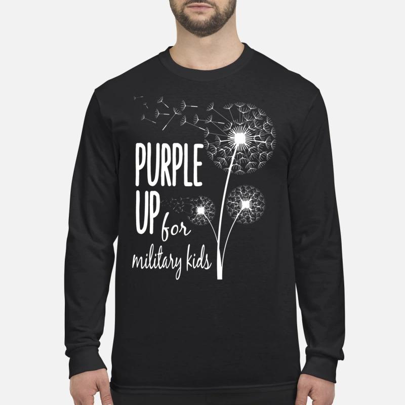Dandelion purple up for military kids men's long sleeved shirt