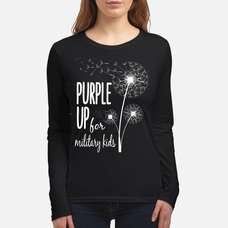 Dandelion purple up for military kids women's long sleeved shirt
