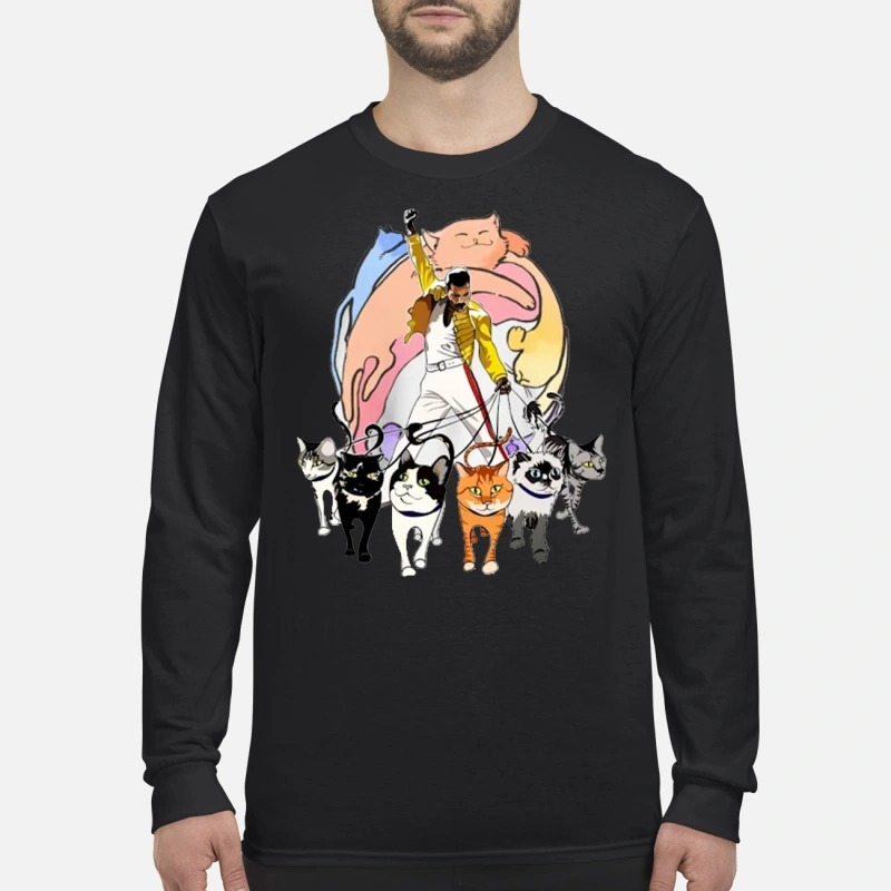 Freddie Mercury with cats men's long sleeved shirt