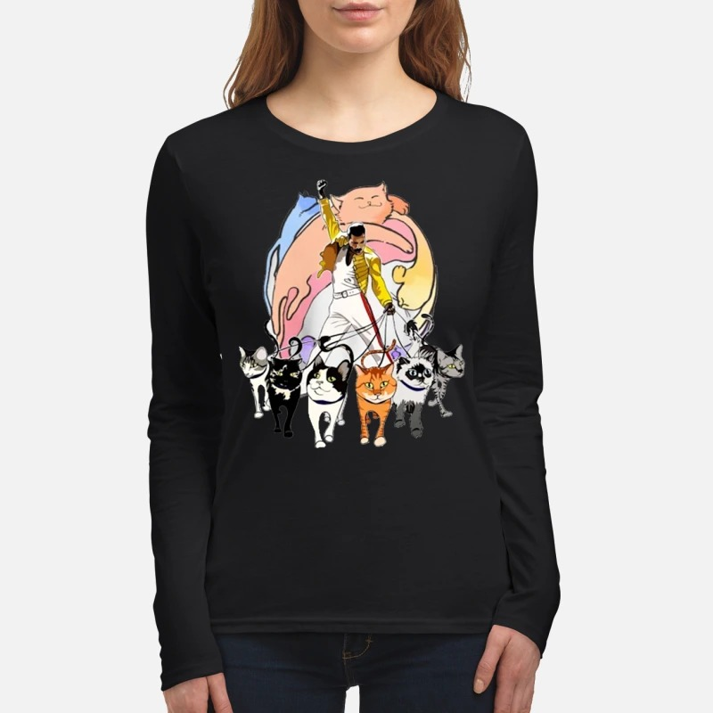 Freddie Mercury with cats women's long sleeved shirt