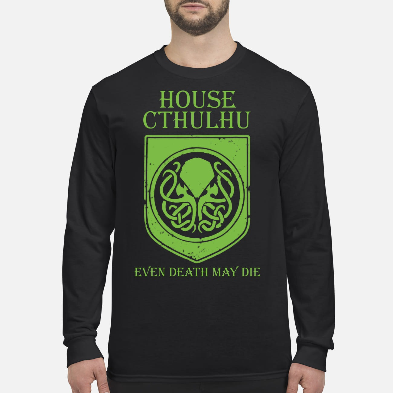 House cthulhu even death may die men's long sleeved shirt