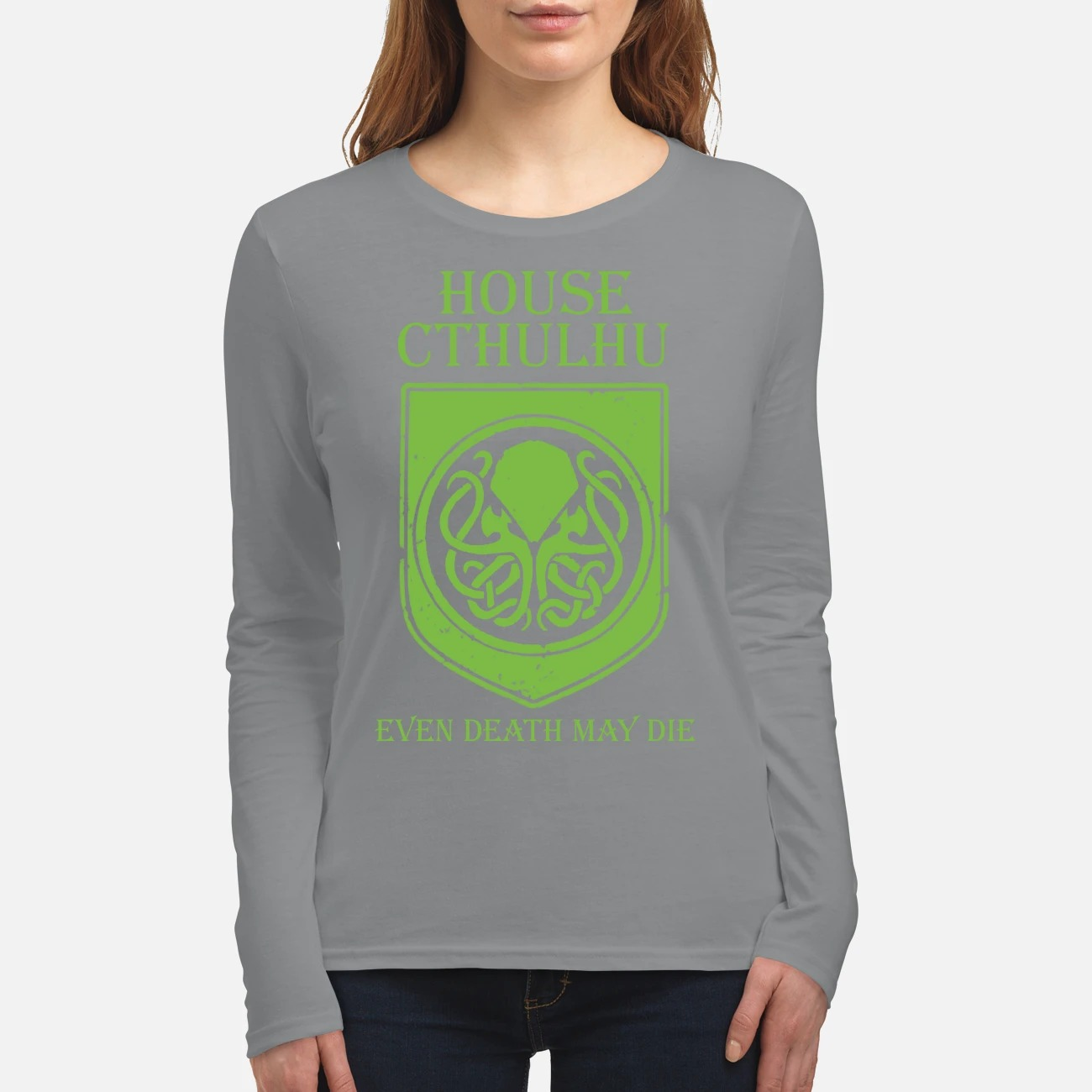 House cthulhu even death may die women's long sleeved shirt