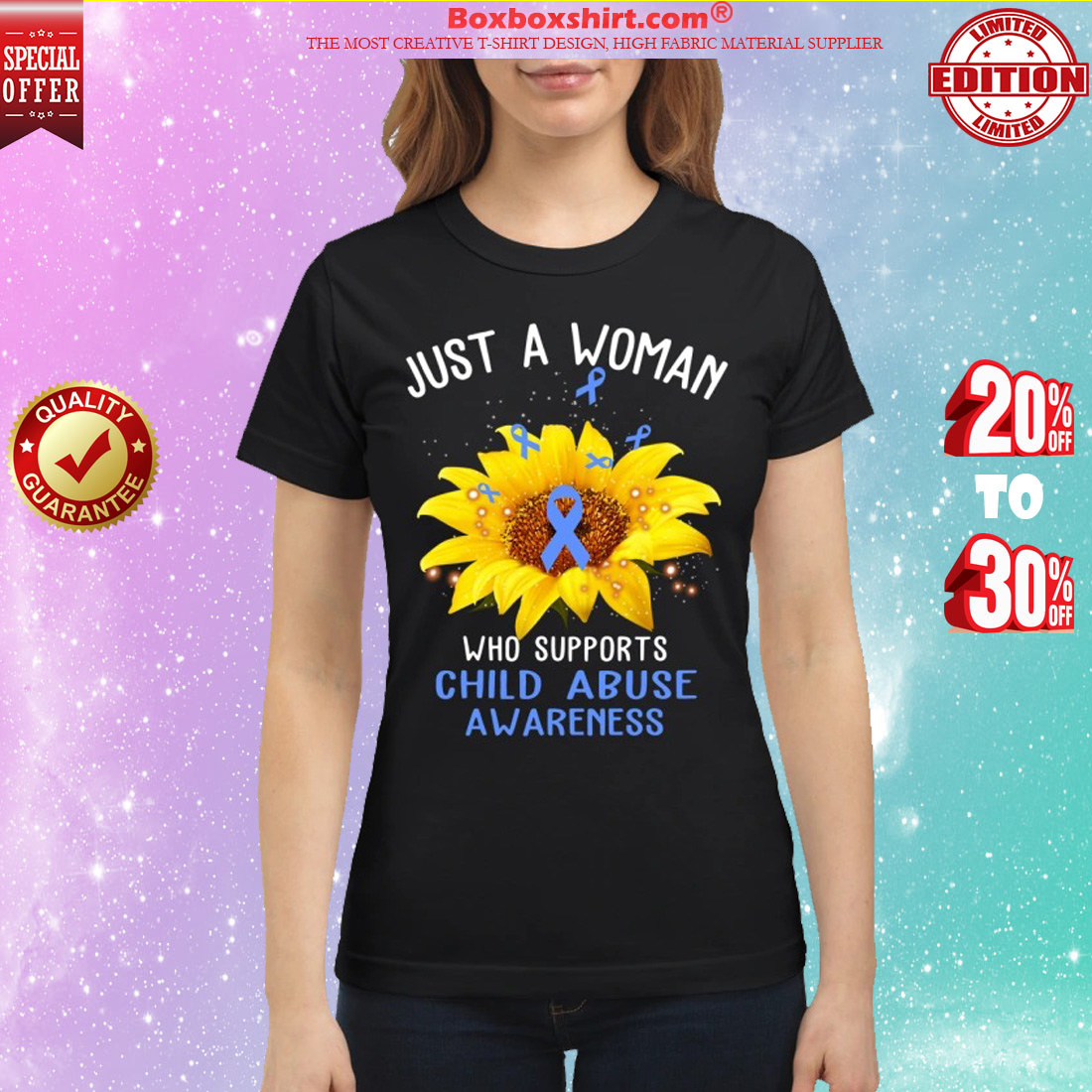 Just a woman who supports child abuse awareness shirt