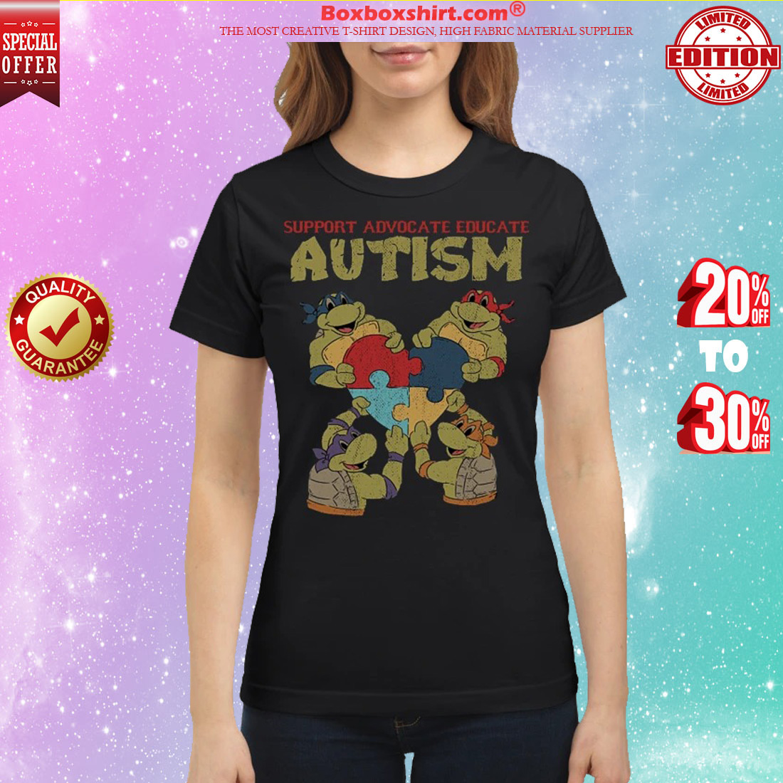 Ninja turtle support advocate educate autism classic shirt