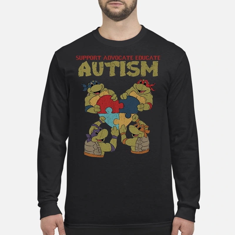 Ninja turtle support advocate educate autism men's long sleeved shirt