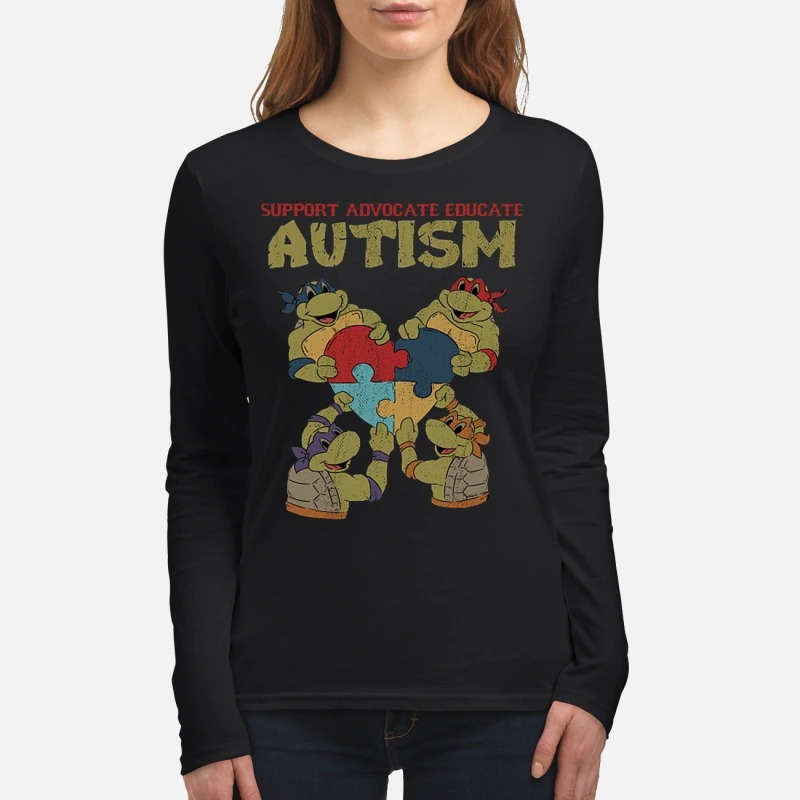 Ninja turtle support advocate educate autism women's long sleeved shirt