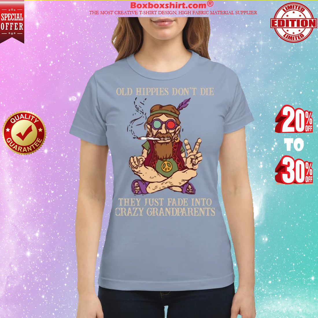 Peace baba old hippíe don't die they just fade into crazy grandparents classic shirt