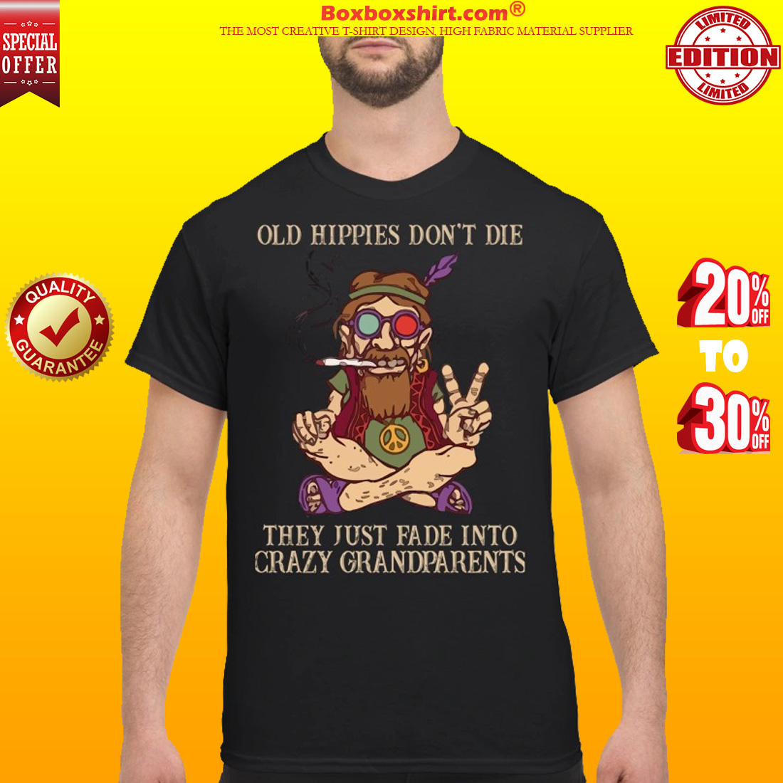 bd60aa3c7 Peace baba old hippíe don't die they just fade into crazy grandparents shirt