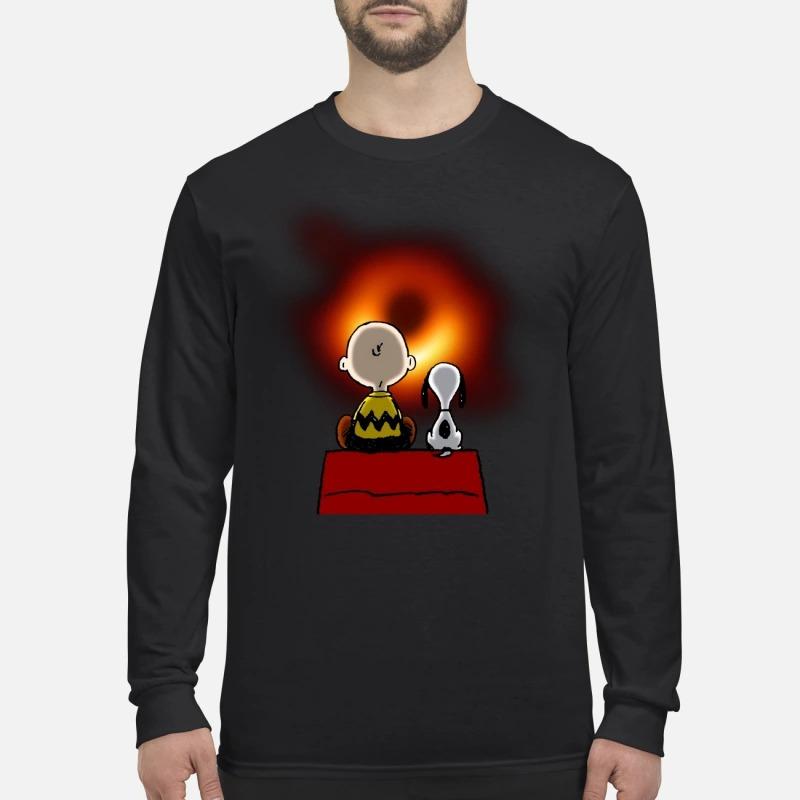 Snoopy Charlie Brown NASA black hole men's long sleeved shirt