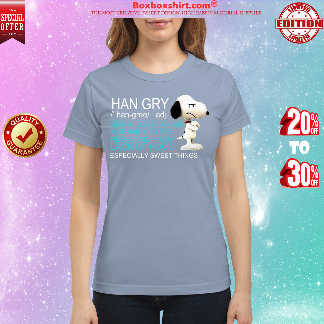 Snoopy han gry anger fueled by hunger acranky state result from lfood classic shirt