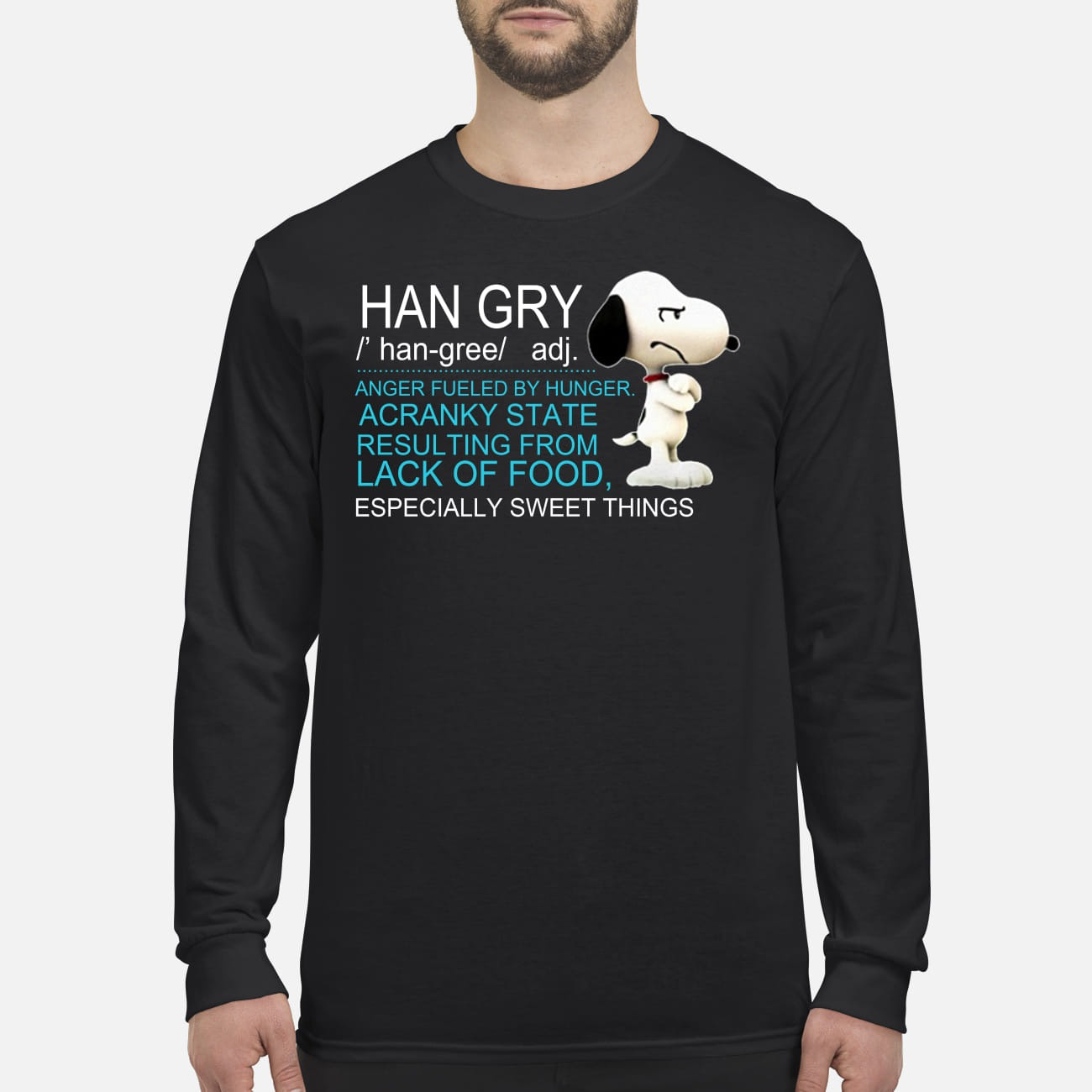 Snoopy han gry anger fueled by hunger acranky state result from lfood men's long sleeved shirt