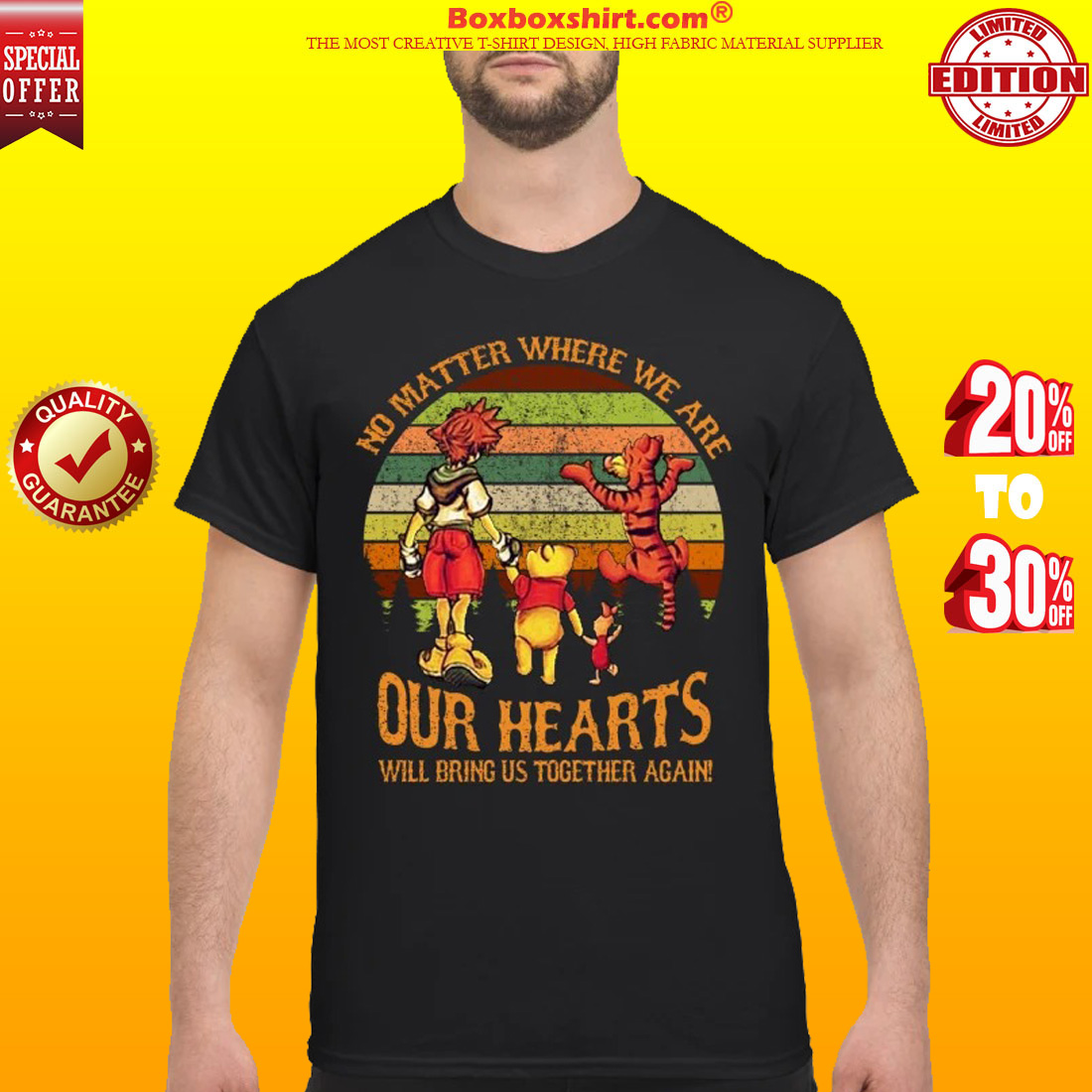 Sora Pooh Tiger no matter where we are our hearts will bring us together again classic shirt