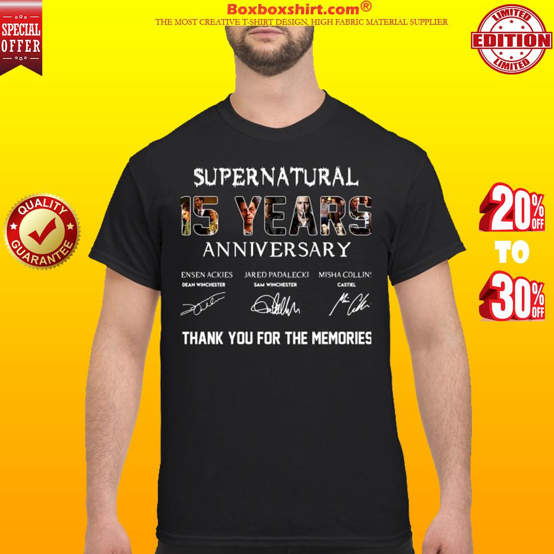 Supernatural 15 Year Anniversary signatures shirt