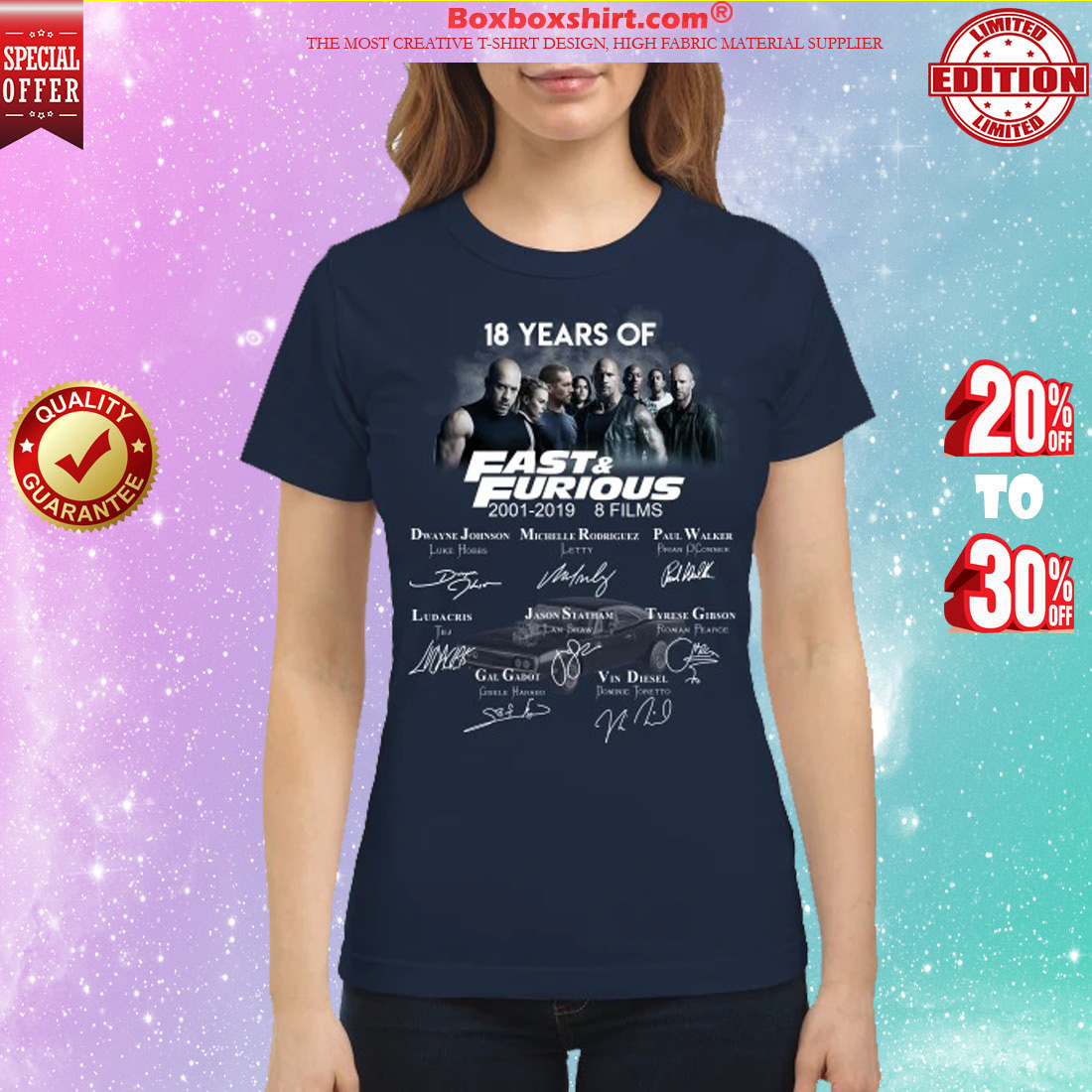 18 years of fast and furious 8 films signatures classic shirt
