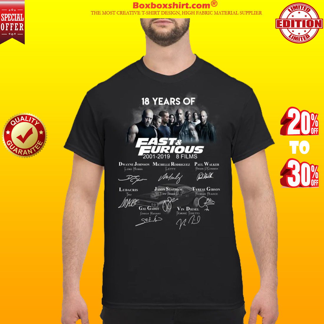 18 years of fast and furious 8 films signatures shirt