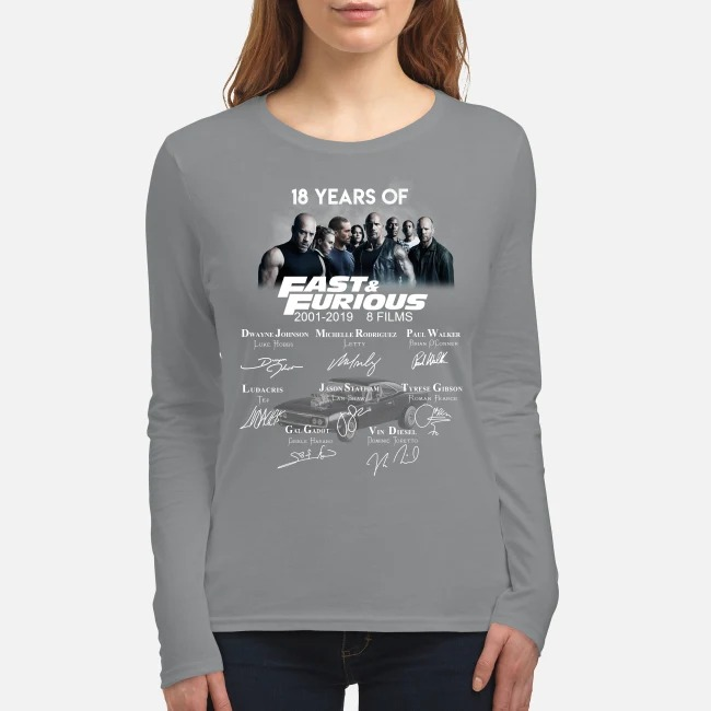 18 years of fast and furious 8 films signatures women's long sleeved shirt